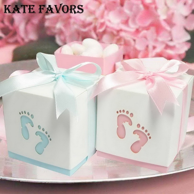 Attractive Pterry Feet Laser Cut Out Baby Shower Favor Gift Candy Box GIft Boxes For  Boy