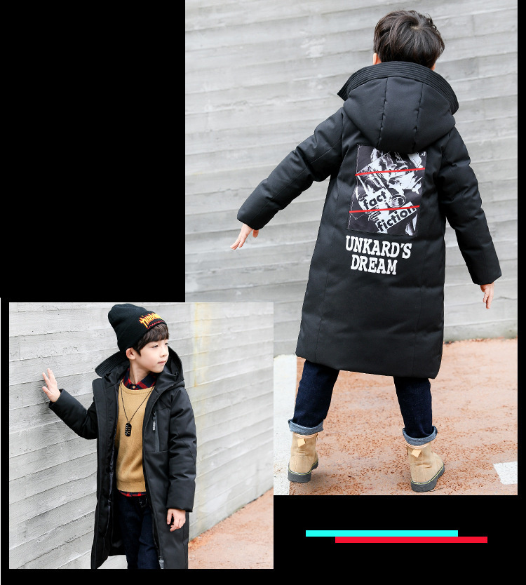 -30 degree children clothing 19 boy clothes warm winter down cotton jacket Hooded coat waterproof thicken outerwear kids parka 8