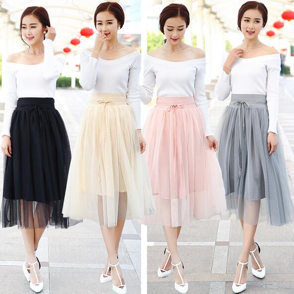 2016 Summer New Fashion Big Swing Maxi Skirts Womens High Waist Tutu Long Tulle Skirt