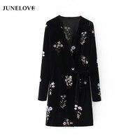 JuneLove 2018 Women Winter Embroidery Dress Female Long Sleeve Vintage V Neck Dress Empire Loose Floral