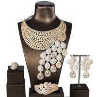Большая роскошь павлиний хвост Для женщин Обручение кубического циркония Цепочки и ожерелья серьги Дубайская набор ювелирных украшений на