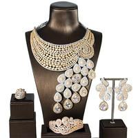 Big Luxury Peacock Tail Women Engagement Cubic Zirconia Necklace Earring Dubai Jewelry Set Jewellery Addiction