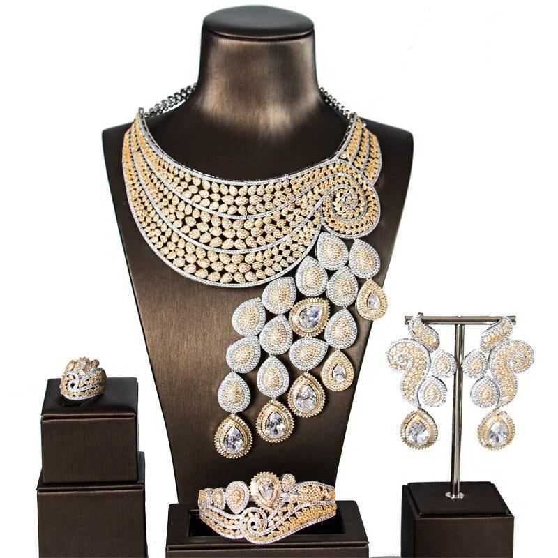 Grand Luxe Paon Queue Femmes Engagement Cubique Zircone Collier Boucle D'oreille Dubaï Ensemble de Bijoux Bijoux Dépendance