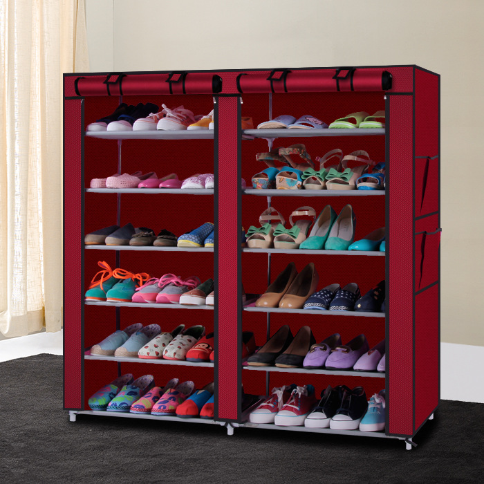 Simple shoe rack non-woven shoe ark multilayer double row receive dustproof bag mail reinforcing steel double simple shoe storage rack assembly cheap thicker dust specials