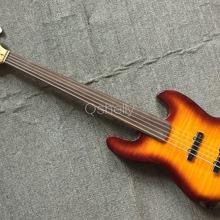 Высокое качество QShelly Пользовательские Джаз Пламя клен с корпусом из ольхи 5 струн плавные активные пикапы 9 В батарея Миллер электрический бас гитара