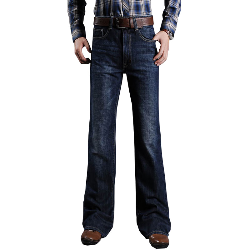 New 2019 Mens High Waist Big Boot Cut Classic Denim Slightly Flare Deep Blue Jeans Trousers