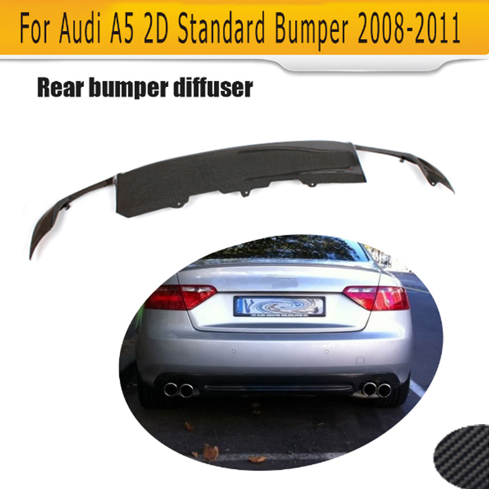 Carbon Fiber Car Rear Bumper Lip Spoiler Diffuser for Audi A5 Coupe 2 Door Standard Only 2008-2011 Non-Sline Black PU S5 Style carbon fiber car rear bumper extension lip spoiler diffuser for bmw x6 e71 e72 2008 2014 xdrive 35i 50i black frp