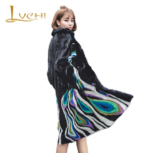 LVCHI 2017 Peacock Feather embroidery New SHUBA clothes for women Natural Mink Fur Coat Women Heavy manual design England style
