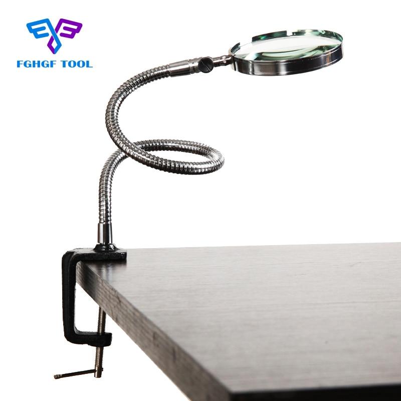 FGHGF 3.5X 100mm objektiivi luupiga luup elastse kaelaga suurenduslaua laua klambrikaustad metallihobuse remondiga suurendusklaas