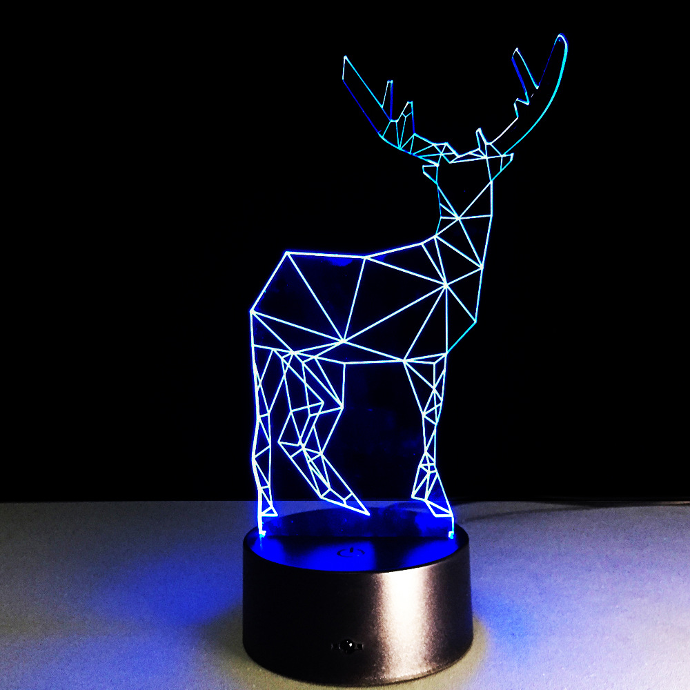 Hot Sale Animal Milu Deer 3D LED USB Lamp 7 Color Changing Night Light For Chirstmas Home Decoration Baby Sleeping Lighting