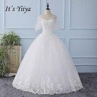 It S YiiYa White Half Sleeve Illusion Wedding Dress Lace Up Appliques Tulla Bride Wedding Gown