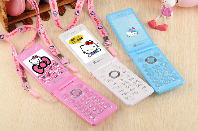 KUH D10 touch screen Dual SIM Cat Flip Phone GPRS Breath Light Cell Phone women girl MP3 MP4 cartoon hello kitty mobile phone