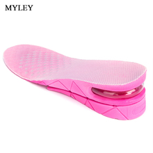 MYLEY 3-5 CM 3-Layer Sport Insole Black Pink Breathable 1 Pair Increase Height Lift Soft PVC Shoe Pad Air Cushion Heel Insert(China)