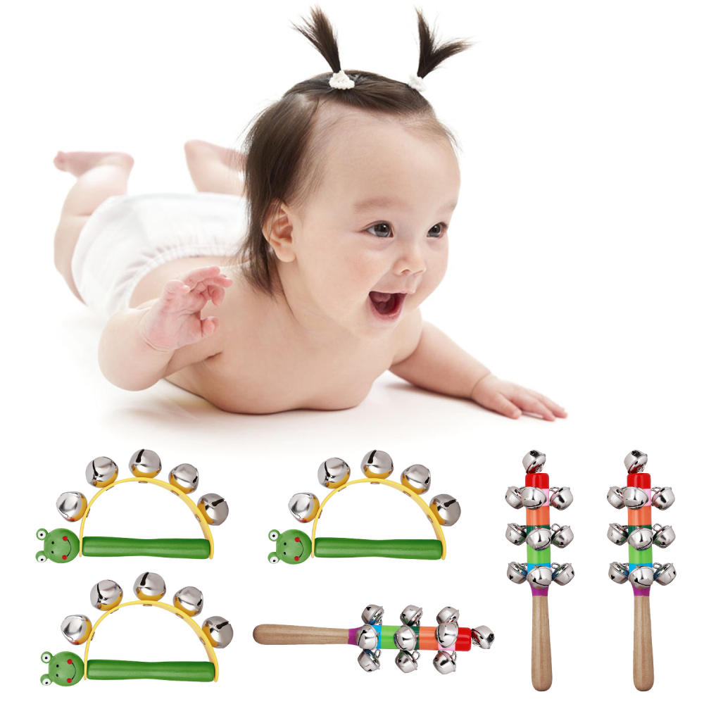 New 6Pcs/Lot Bells Rattle Wooden Handle  Christmas Bell Stick Shaker Rattle Children Musical Early Education Puzzle Toys For Kid