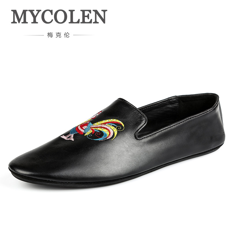MYCOLEN Italy Fashion Design Men Loafers Embroidery Men Leather Shoes Mens Flat Loafer Party Shoes Erkek Ayakkabi Deri jiabaisi fashion casual design leather loafer comfort men s shoes jsb170314002
