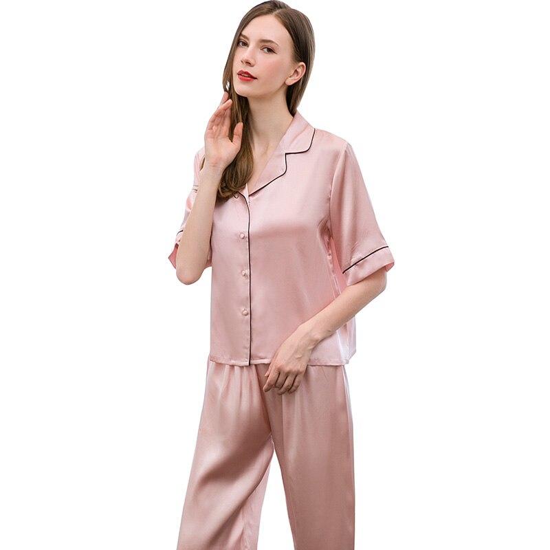 Femmes 100% soie loisirs porter pyjamas ensemble 2019 vêtements de nuit de salon pour dames chemise de nuit pyjamas naturel Pure soie chemise de nuit ensembles - 2