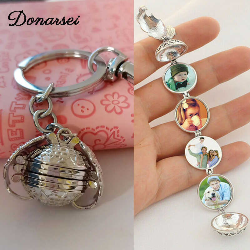 Donarsei Magic Floating Expanding Photo Locket KeyChains For Women Memory Angel Wing Album Box Key Rings Key Chains Jewelry Gift