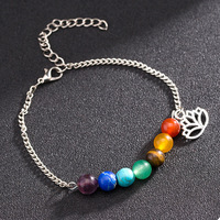 DIEZI 1 PCS Summer Jewelry Beads Anklet Foot Chain Ankle Pray Yoga Bracelet 7Chakra Charm Anklet Beach Vintage Foot Jewelry Gift