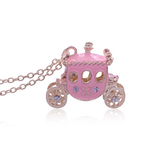 Hot Fairy Princess Pink Charm Small Carriage Necklaces Pendants Crystal Horse Sweater Chain Gold Carriage Necklace