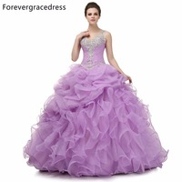 Forevergracedress 2018 Original Photo Ruffles Quinceanera Dress New V Neck Beaded Organza Long Formal Party Gown Plus Size