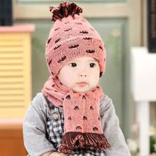 2Pcs/Set Toddler Baby Crochet Warm Set Knitted Wool Scarf+Hat Jacquard Weave Double-deck Infant Hat Scarf Clothing Set Outfit(China)