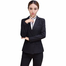 Black Soft Striped Winter Pant Suits 2 Pieces Set Office Uniform Design Career Business Style Women Work Wear Size S-4XL