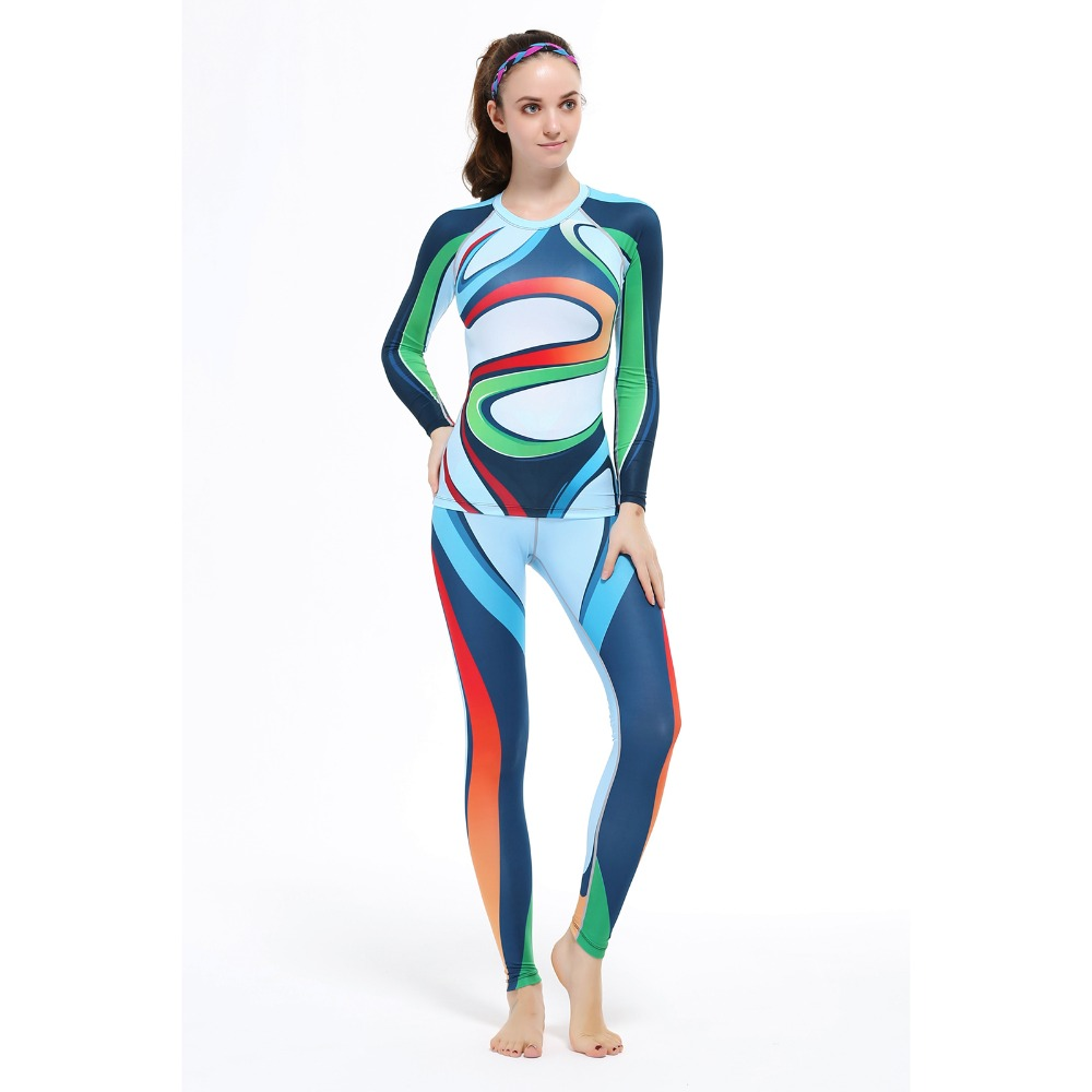Women Sexy Tights Set Gym Sports Set Jogging Legging&Top Base Layers Running Fitness Cycling Suit Clothing Long Sleeve men compression shirts pants tights cycling base layer skin set gym training mma workout fitness yoga clothing set cpd p2l b5
