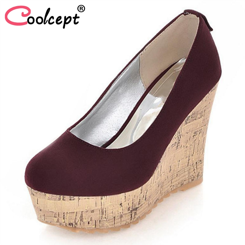 Coolcept women high heel wedge shoes platform woman sexy dress footwear fashion pumps P10691 hot sale EUR size 34-39 coolcept free shipping genuine leather quality high heel wedge sandals women fashion platform heels sandal r4222 eur size 34 39