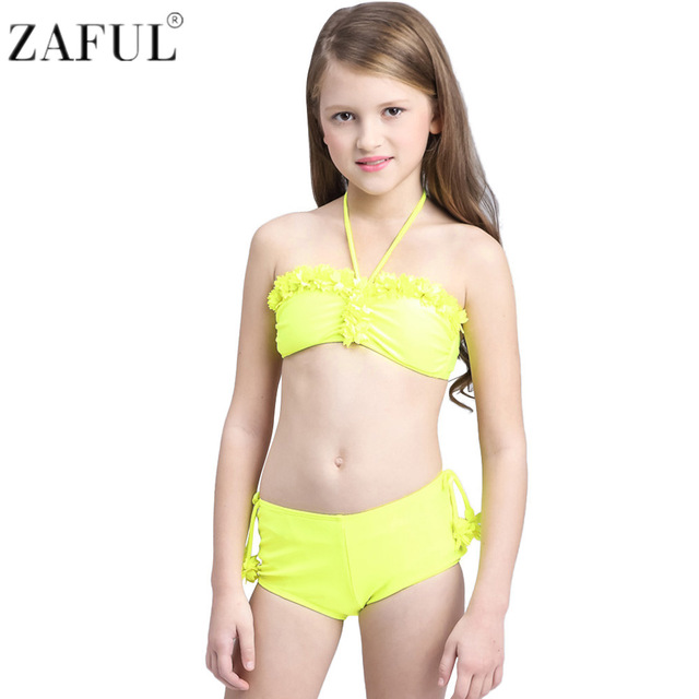 b0d877947c ZAFUL New Summer Bathing Suit Children Swimwear Girls Lovely Halter Lace  Split Bikini Kids Split Two Pieces Swimsuit Beachwear