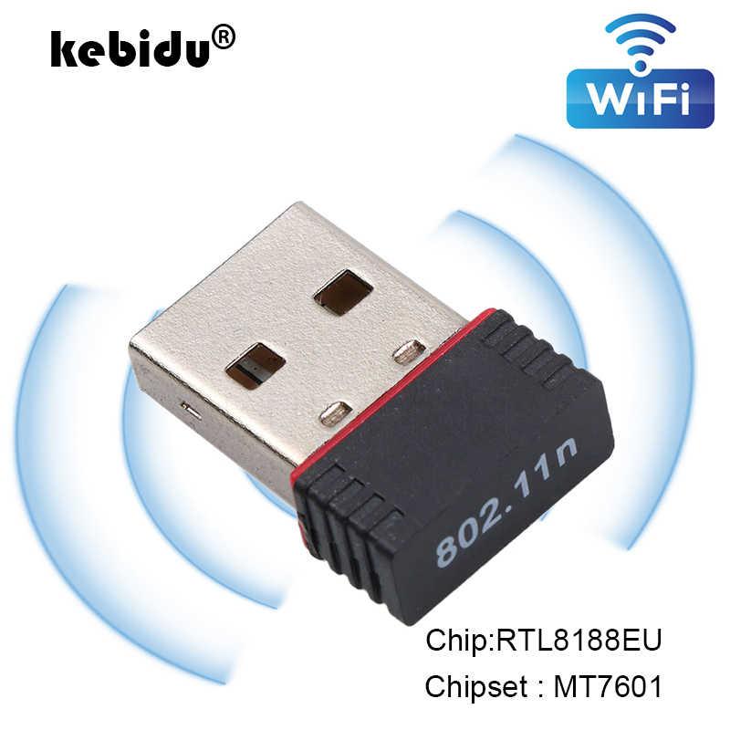 Kebidu 150Mbps USB صغير واي فاي محول هوائي USB 2.0 استقبال لاسلكي دونغل بطاقة الشبكة RTL8188EU الخارجية واي فاي للكمبيوتر
