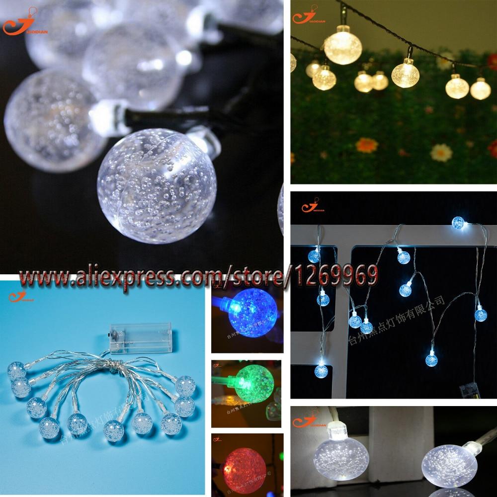 9 Цветов 10 СВЕТОДИОДНЫЙ Струнный Свет Батареи 30 ММ Хрустальные Шары Пузырь Спальня Рождество Свадебные Сады Декор Световой Мерцание Полосы
