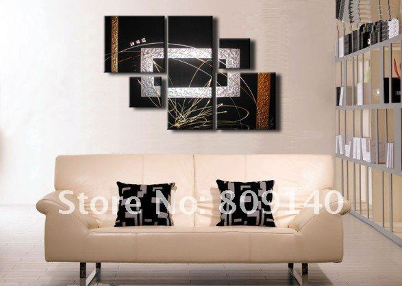 stretched black silver modern abstract oil painting canvas ready to hang textured artwork handmade home office artwork for office walls