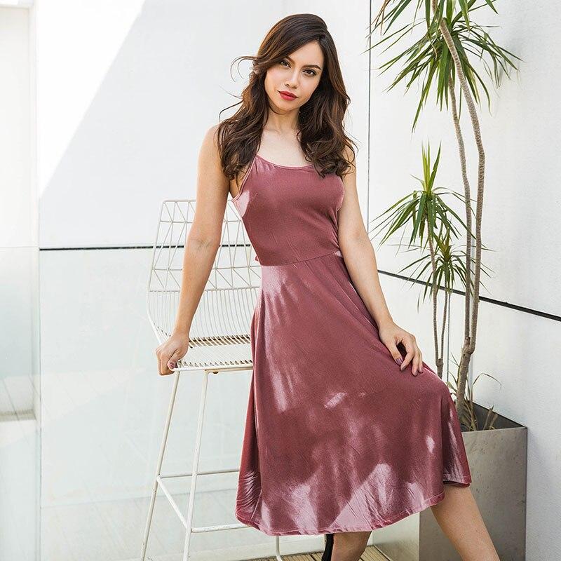 a2a7d4f00de23 Self Duna 2018 Summer Women Velvet Dress Sundress Red Pink Black Lace Up  Sexy Backless Vintage Lady Slip Dress Robe Femme