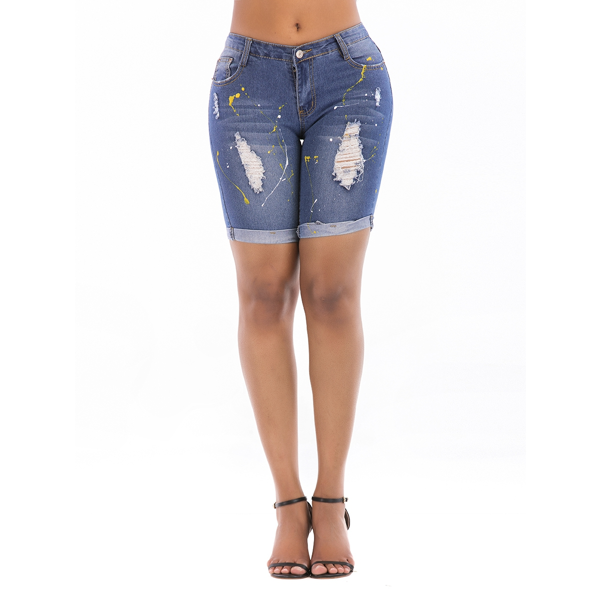 Summer Women's Handmade Paint Worn Trend Personality Jeans For Women Pants Breeches Overalls Vintage Torn Trousers