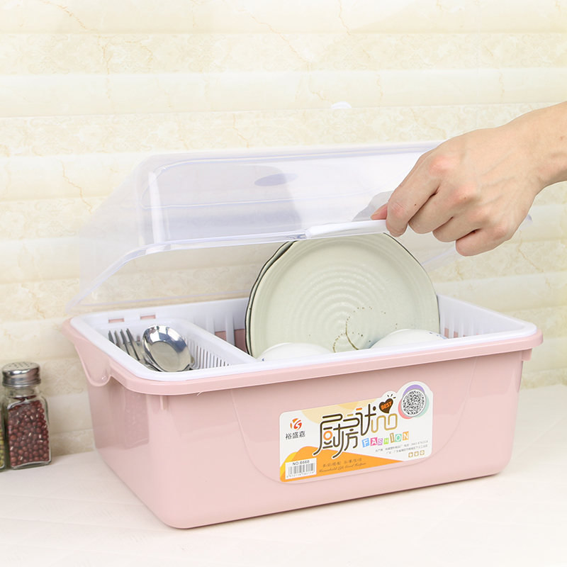 Tableware storage box cupboard with lid placed on the shelf shelf kitchen storage box storage box small household drain LU42419