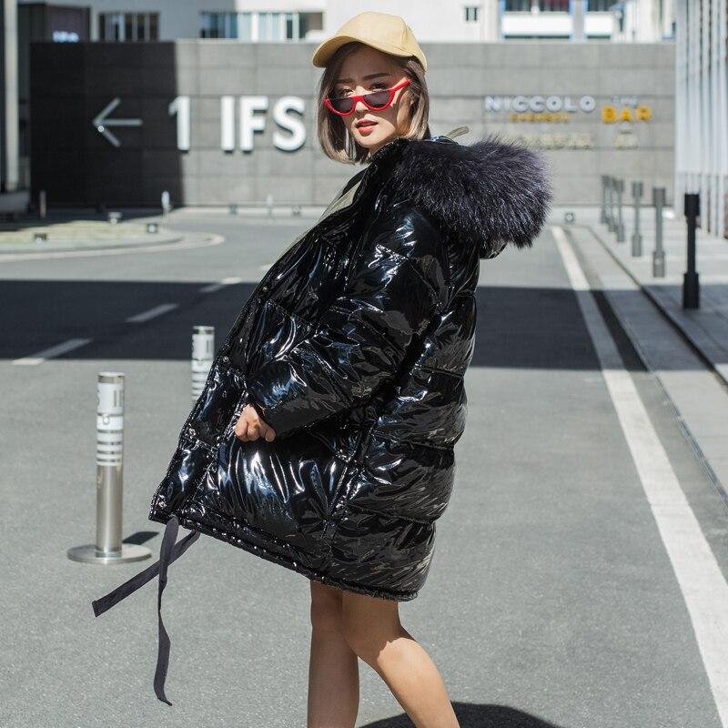 Inverno super-spessa di modo di marca grande naturale della pelliccia con cappuccio anatra giù parka femminile Lucido tessuto più spesso calda verso il basso cappotto wq522