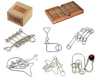 8PCS/Set IQ Metal Wooden Brain Teaser Puzzles Game for Adults Children