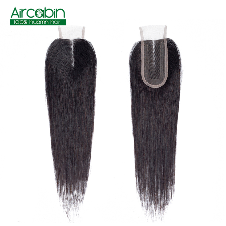 2x4 Brazilian Straight Closure Human Hair Lace Closure 1Pcs/lot Middle Part 130% Density Natural Color Lace Closure Non Remy