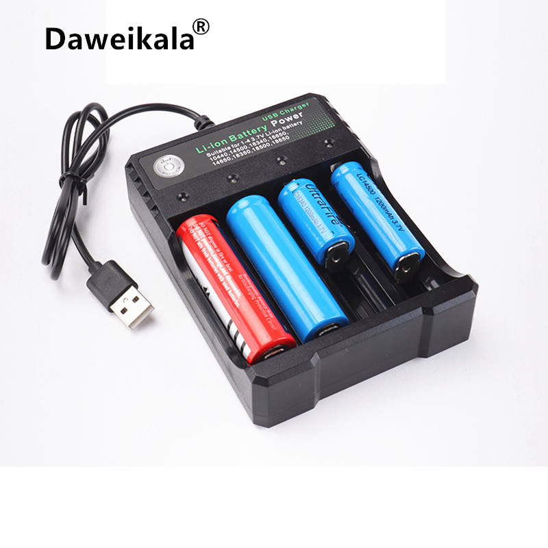 Daweikala USB Battery Charger for 26650 18650 14500 16340 lithium battery 3.7V 12V 24V Charger for AA AAA Batteries