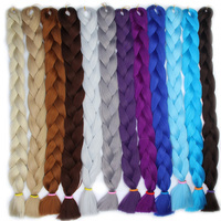 FALEMEI 82inch 165G Pack Jumbo Kanekalon Braiding Hair Extensions Synthetic Braids Hair Colors For African American