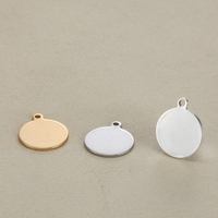 20PCS Pendant Custom LOGO Jewelry Accessories Round Smooth Stainless Steel 15MM Small Charms