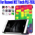 50pcs/Lot For Huawei M2 7.0 Inch Fashion PU Leather Ultra Slim  Smart Case Cover for Huawei M2 PLE-703L With Stand HM21