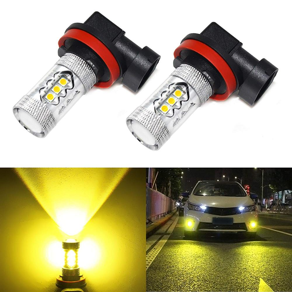 2X H8 H11 H9 9006 9005 H3 H10 P13W 5202 PSX24W H16 LED Fog Light Bulb Auto Car Driving DRL Lamp 3000K Yellow