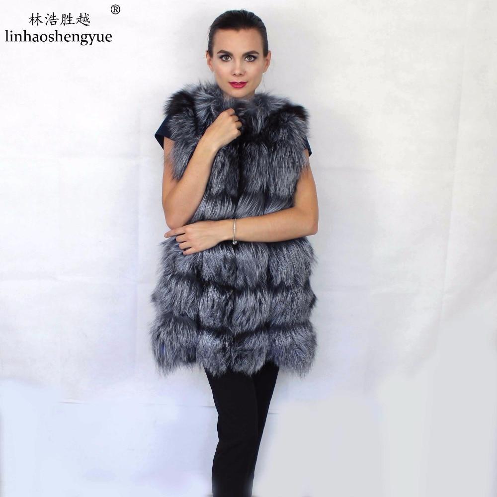 Linhaoshengyue 72 CM UZUN Gümüş tilki ceket kırmızı tilki kürk - Bayan Giyimi - Fotoğraf 1