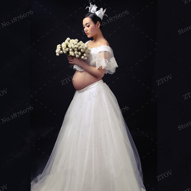 704ec0105 Maternity Lace Gown Free Size White Maternity Photography Props for pregnant  pregnancy gown clothes photo shoot dress