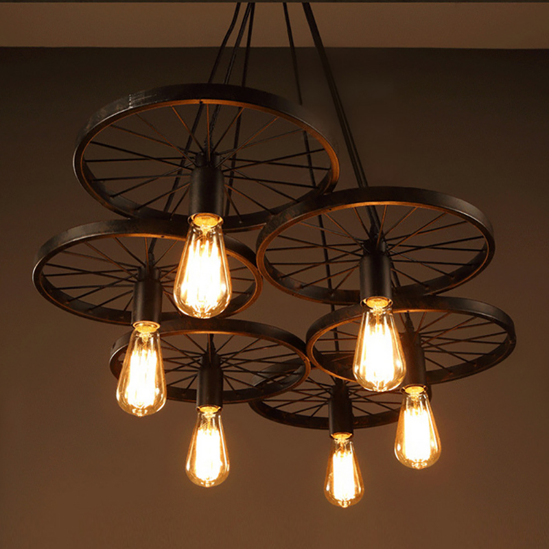 Retro Industrial iron wheel vintage black pendant Lamp Classic Loft Lights E27 110V-220V for Restaurant dining living room bar loft style vintage pendant lamp iron industrial retro pendant lamps restaurant bar counter hanging chandeliers cafe room