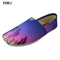 FORUDESIGNS Women S Casual Shoes Flats Galaxy Pattern Summer Canvas Fashion Multi Ladies Loafers Shoes Woman