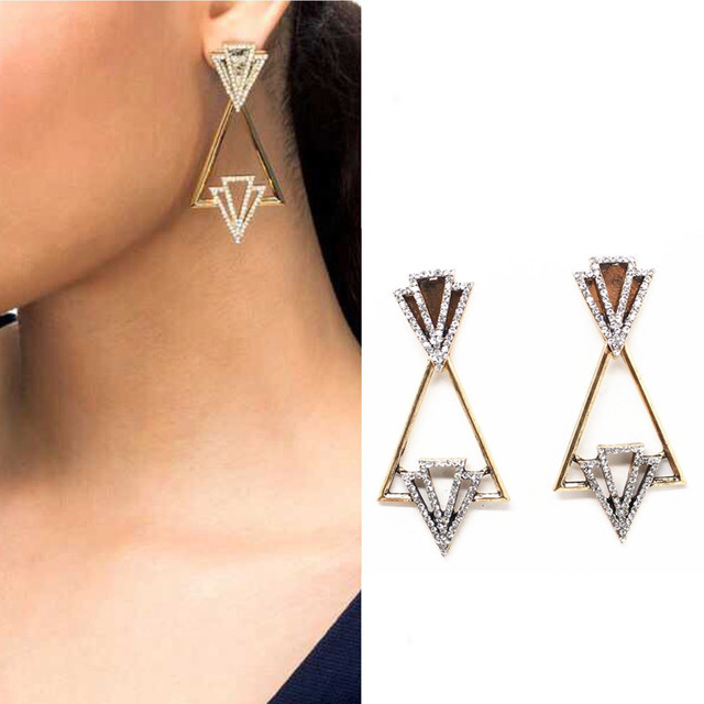 New Fashion triangle earring women's fashion design statement crystal stud Earrings Gift for women jewelry PENDIENTES wholesale