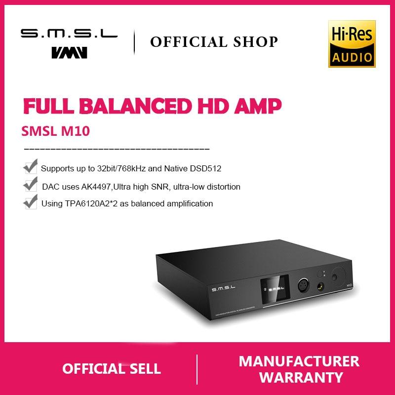 SMSL M10 AK4497 Puce casque Complet et équilibré amplificateur & DAC Soutien DSD512 PCM768kHz USB Numérique Décodeur Amplificateur de Puissance