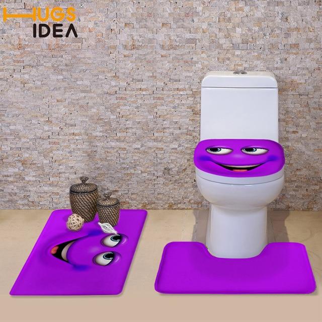 HUGSIDEA Candy Color Emoji Bathroom Toilet Set Cover 3D Wc Seat Bath Mat Holder Closestool